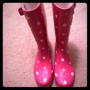 Pink with White Polka Dot Rainboot